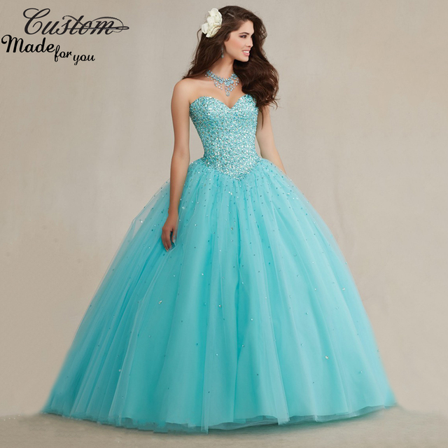 ce9ea631b2 Sparkly Ball Gown Full Crystals Corset Puffy Tulle Masquerade 2016  Turquoise Quicneanera Dress for Girls 15 years