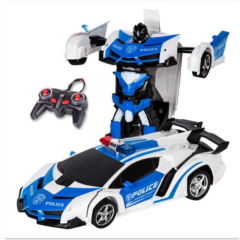 आर सी कार खिलौने रिमोट कंट्रोल परिवर्तन रोबोट खिलौना विरूपण खिलौने बच्चों के जन्मदिन के उपहार के लिए आरसी स्पोर्ट्स वाहन मॉडल