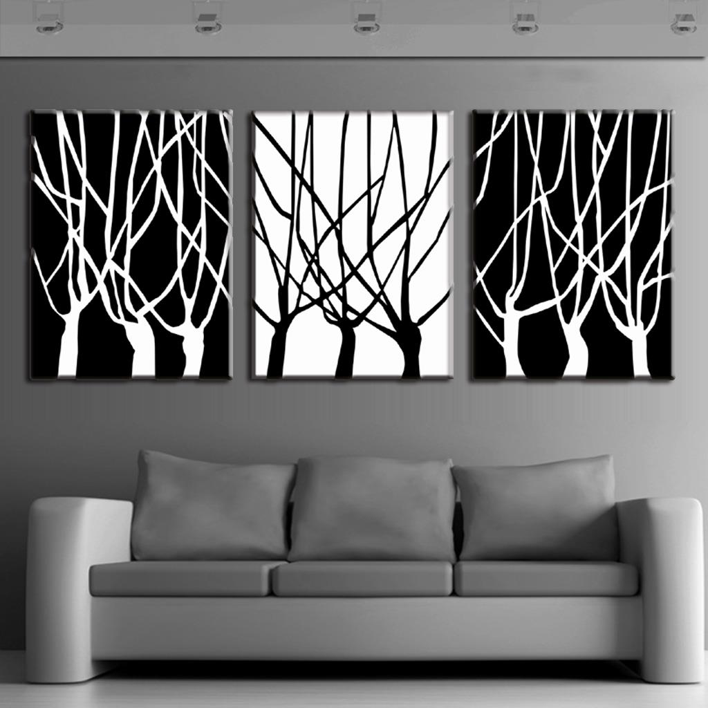 3 Pcs/set Framed Abstract Trees Painting Printed On Canvas <font><b>Home</b></font> <font><b>Decor</b></font> <font><b>Simple</b></font> Black and White Branches Wall Printing