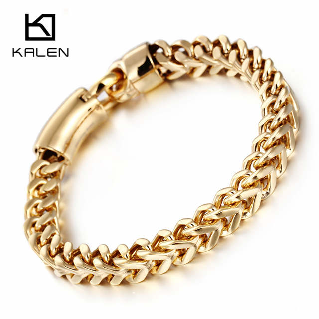 Online Shop Kalen Dubai Gold Color Link Chain Bracelet For Men Stainless Steel Jewelry High Polished Hand Accessories Birthday Gifts