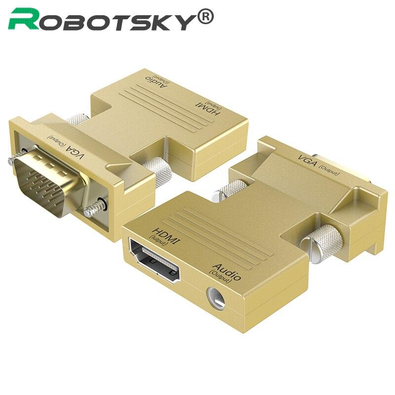 Convertisseur HDMI vers VGA femelle vers mâle avec adaptateur Audio Signal HDMI-VGA adaptateur de Transmission Audio 1080 P pour projecteur HDTV