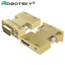 Hdmi do vga konwerter kobiecy męski z Adapter audio sygnału HDMI VGA transmisja audio Adapter 1080P dla projektor hdtv