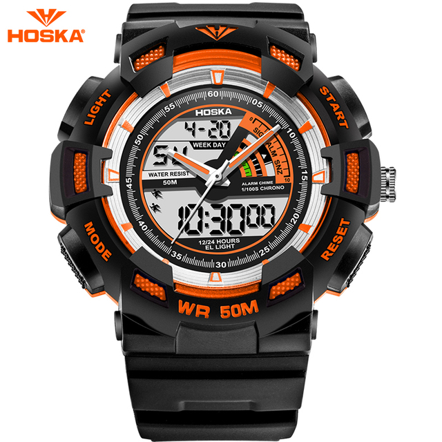 Sport Children Digital Watch for Kids Analog LED Back Light Alarm Repeater Stopwatch Shock Resistant Quartz Watch for Boys HD030