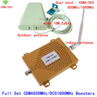 Dual Band Repeater Gain 65dB 850 /1800 MHz Cell Phone Booster Amplifier GSM CDMA 4G DCS Signal Booster with LDPA whip antenna