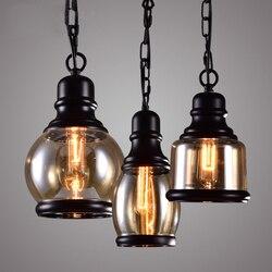 Vintage Classic Loft przemysłowe metalowa lampa wisząca światła szklany klosz zawieszenie wiszące oprawa dla Bar jadalnia PL453