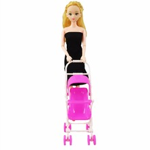 Baby Toys Furniture-Toys Trolley Doll-Accessories Girl's for Assembly Gift Pink Nursery