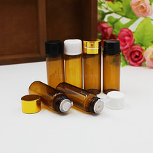 5ML brown glass bottle white/black/gold/silver lid plastic stopper for essential oil sample test vial skin care packing(China)