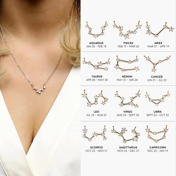 1d751d54d7a77 US $29.05 17% OFF|constellation necklace women crystal necklaces birthday  gift necklace 12 horoscope custom necklace birthday gift memorial gift-in  ...