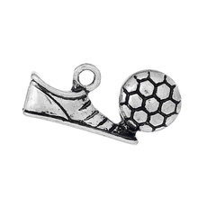 "DoreenBeads Zinc metal alloy Charm Pendants Shoes Antique Silver Football Pattern 22mm( 7/8"") x 11mm( 3/8""), 2 PCs new(China)"
