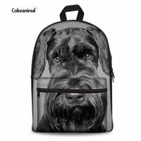 Coloranimal Schnauzer Puppy Women Travel Backpack Casual Large Daypack Cute Dog Pattern School Bags Kids Girl Shoulder Bookbag