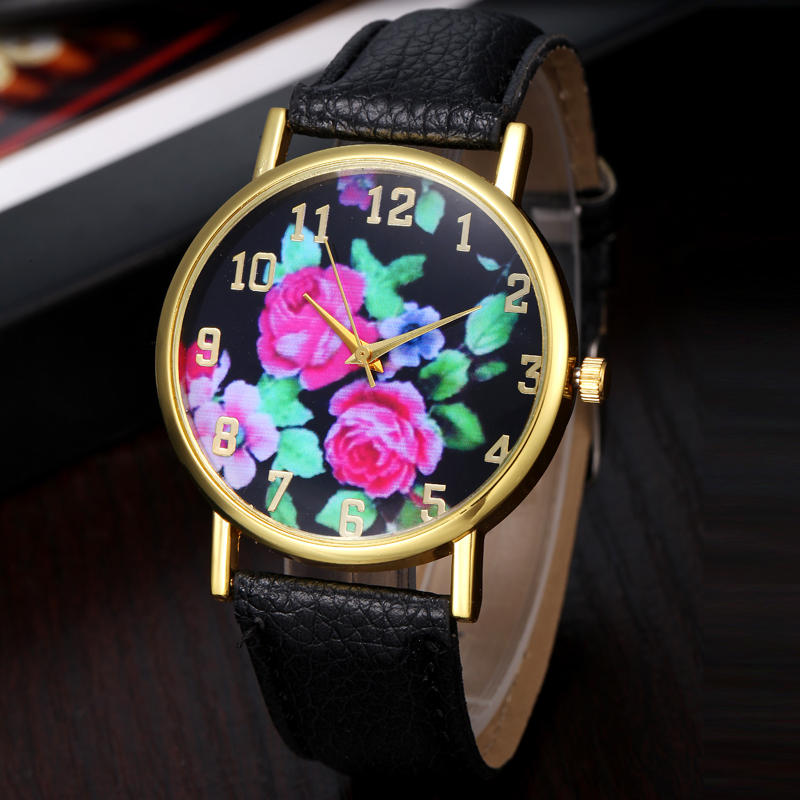 Montre Femme Relogio Feminino Women's Leather Rose Floral Printed Analog Quartz Wrist Watch relogio feminino fashion women watches quartz retro rainbow design leather band analog alloy quartz wrist watch montre femme