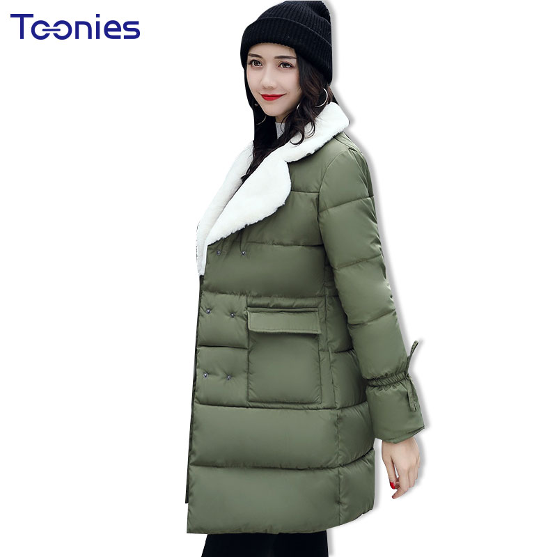 Winter Parka Women's Jackets Slim Cotton Padded Big Lambs Wool Collar Overcoats Double Breasted Long Jacket Solid 2017 All-match mens winter down jackets coats piumino peuterey wool collar double breasted jacket lapel pocket vertical multi pocket jacket