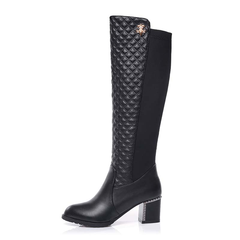 c59ee844f32 YOUGOLUN Women Knee High Black Boots New Autumn Winter Fashion ladies  Square Thick heels Boot Sexy Woman Round toe Martin Shoes
