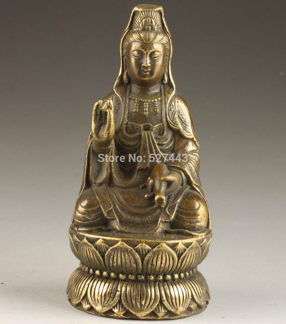 Wholesale SUPERB VINTAGE COLLECTABLE OLD DECORATION SPIRITUAL KWAN-YIN BRONZE STATUE