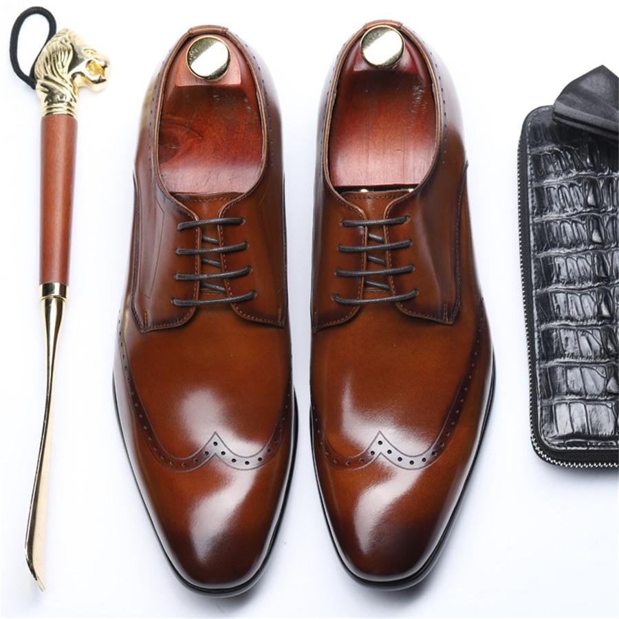 Genuine leather men brogue Business Wedding banquet shoes mens casual flats shoes vintage handmade oxford shoes for men lace upGenuine leather men brogue Business Wedding banquet shoes mens casual flats shoes vintage handmade oxford shoes for men lace up
