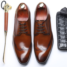 Genuine leather men brogue Business Wedding banquet shoes mens casual flats shoes vintage handmade oxford shoes for men lace up mycolen new fashion mens office lace up classic leather shoes men s casual party driving man vintage carved brogue flats