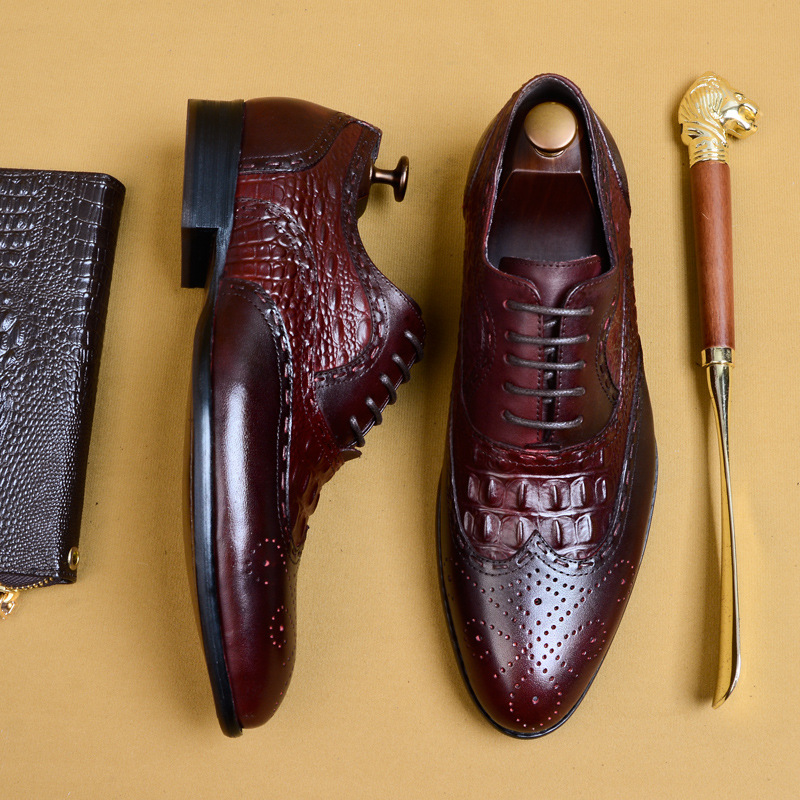 Genuine Leather Formal Derby Shoes Men Pointed Toe Lace Up Elegant Dress Shoes Comfortable Oxfords Footwear US 11 5 in Formal Shoes from Shoes