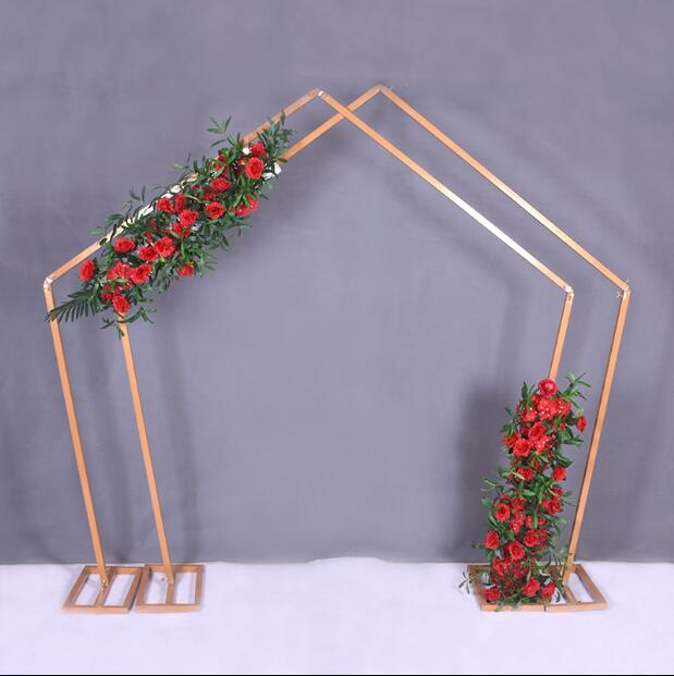 Pentagonal Iron Art Arch Stage Decoration Special shaped Frame Geometric Arch Forest Wedding Decoration Projects