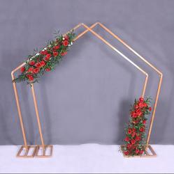 Pięciokątna żelazna sztuka łuk dekoracja sceniczna specjalna ramka w kształcie geometrycznego łuku leśnego projekty dekoracji ślubnych