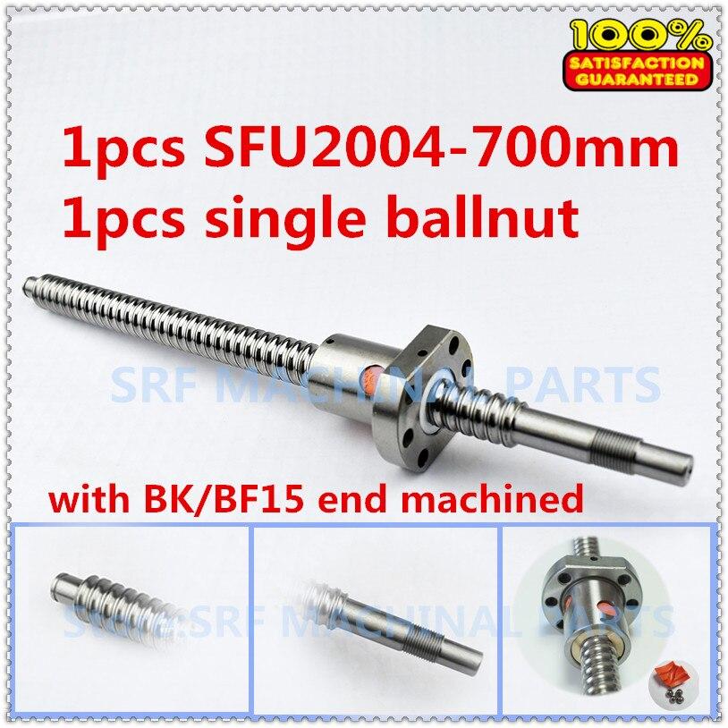 20 мм 1 шт. проката Ballscrew SFU2004 ШВП L = 700 мм + 1 шт. фланец один Ballnut с BK/BF15 конец механической обработке