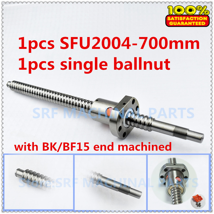 20mm 1pcs Rolled Ballscrew SFU2004 Ball screw L=700mm +1pcs Flange Single Ballnut with BK/BF15 end machined