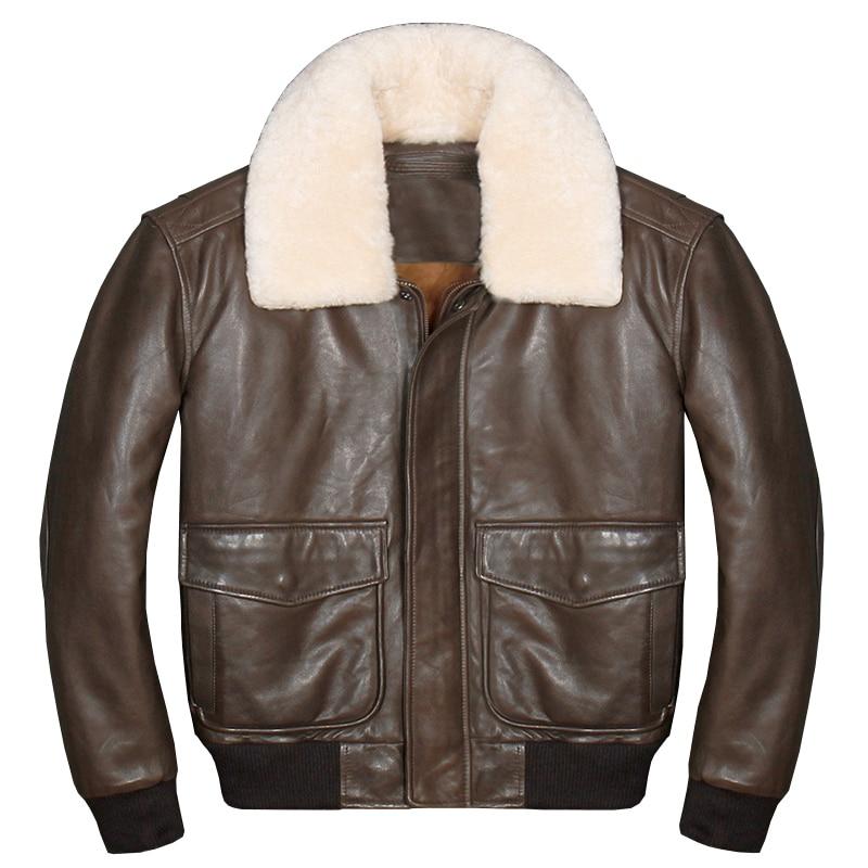Jacket Flight USAF Military Pilot Size-Sheepskin Brown Genuine A2 Wool-Collar Men Europe