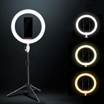 SITOOSHE Светодиодная лампа для фото/студии/видео кольцевая лампа 3200 K-5500 K для фотографии с регулируемой яркостью кольцевая лампа для Iphone/Samsung/...