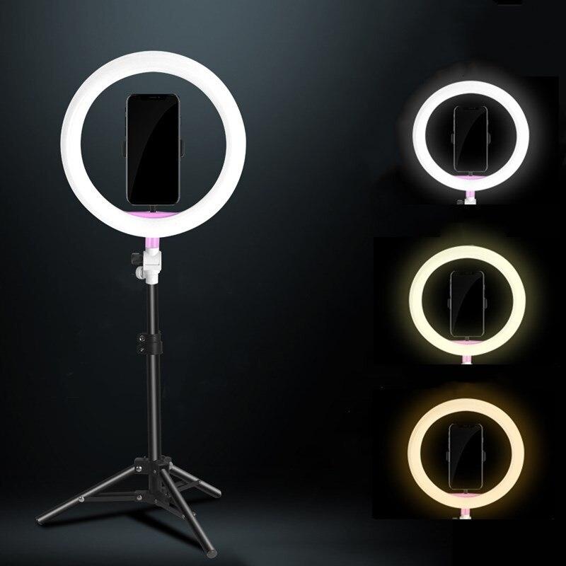 Sitooshсветодиодный свет камеры Фото/Студия/видео кольцо свет 5500 K-3200 K фотография затемнения кольцо лампа для Iphone/samsung/Xiaomi