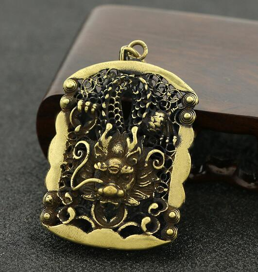 Chinese Pure Brass Carved Zodiac Animal Dragon King's Pendant Safety Buckle Small Pendant  Statue