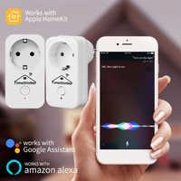 Timethinker 2Pcs Smart WiFi Plug Homekit Socket EU Adapter for Apple  Homekit Siri ALexa Google Home APP Voice Remote Controller
