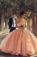Vestido De Festa Charming Sweetheart Ball Gowns Beaded Crystal Peach Prom Dresses Floor Length Tulles Evening Dress BO3000