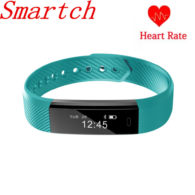 Smartch Smart Band ID115 HR Bluetooth Wristband Heart Rate Monitor Fitness Tracker Pedometer Bracelet For Phone