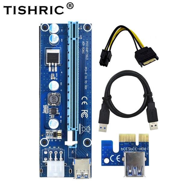 TISHRIC VER006C PCI Express PCI-E PCIE Riser Card 1x 6Pin 006C 16x Extender Cabo USB3.0 SATA para IDE para Bitcoin Mining mineiro