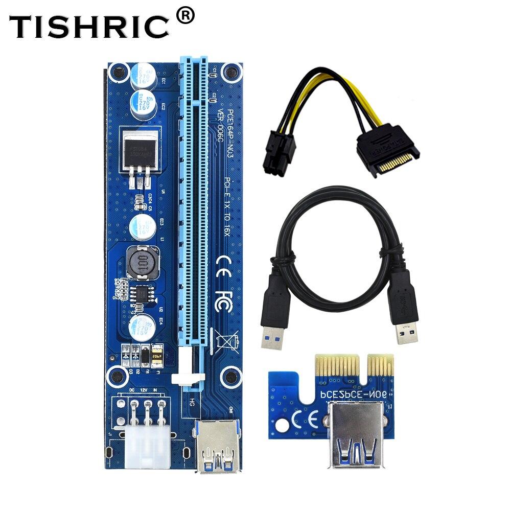 Tishric ver006c pci express pcie pci-e riser cartão 006c 6pin 1x a 16x extensor usb3.0 cabo sata para ide para mineração bitcoin mineiro