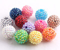 Mix Colorful Rhinestone  Beads 20MM  100pcs A lot Resin Rhinstone Ball  Beads for Chunky Necklace Jewelry Making