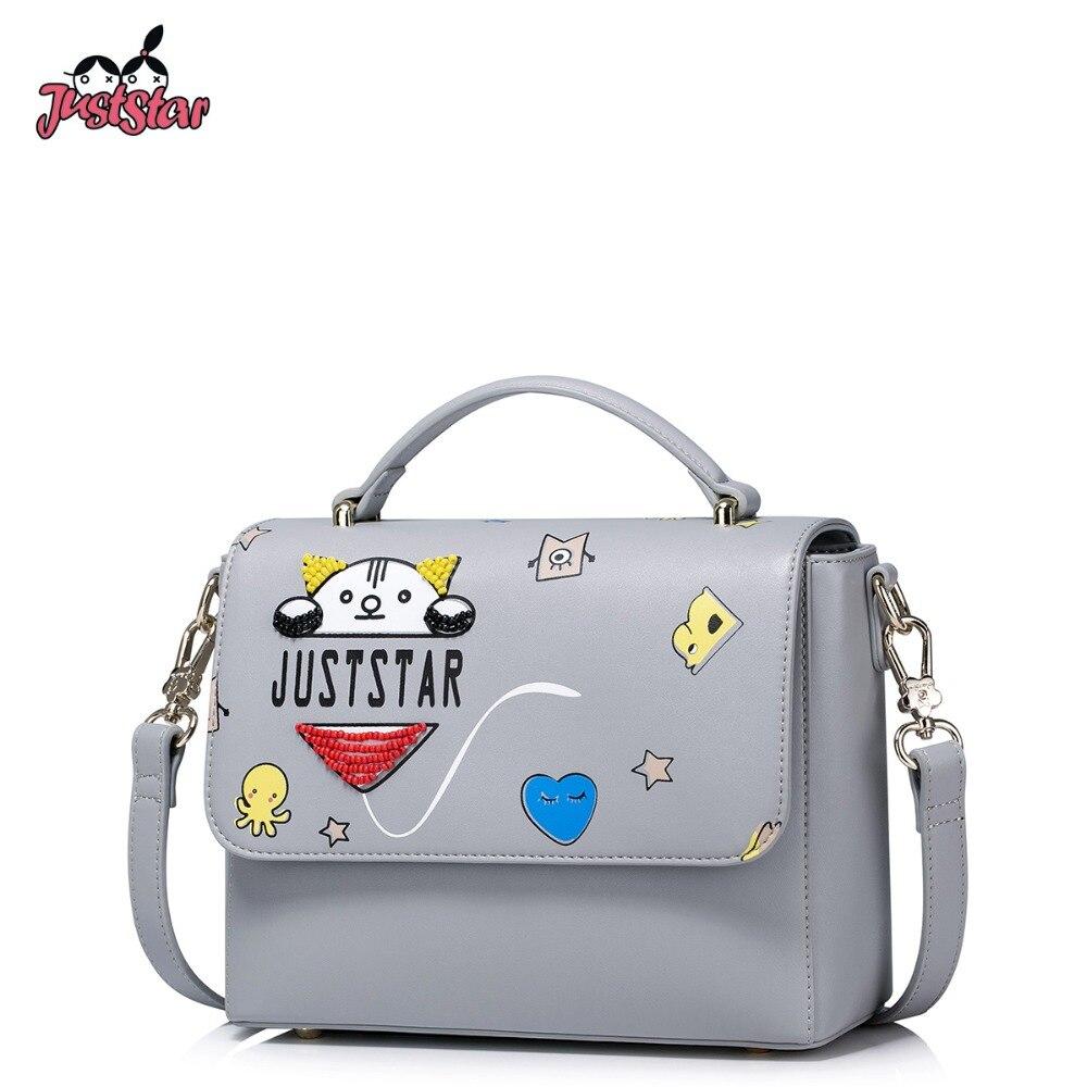 ФОТО JUST STAR Women PU Leather Handbag Ladies Fashion Cartoon Printing Tote Shoulder Bag Female Flap Beading Messenger Bags JZ4224