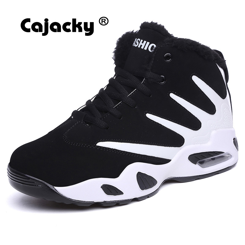 Cajacky men warm snow boots winter with fur plush ankle boots suede leather high top mens casual shoes lace up plush sneakers winter warm shoes mens high top hiking shoes athletics outdoor plush ankle boots men sports shoes comfortable climbing sneakers