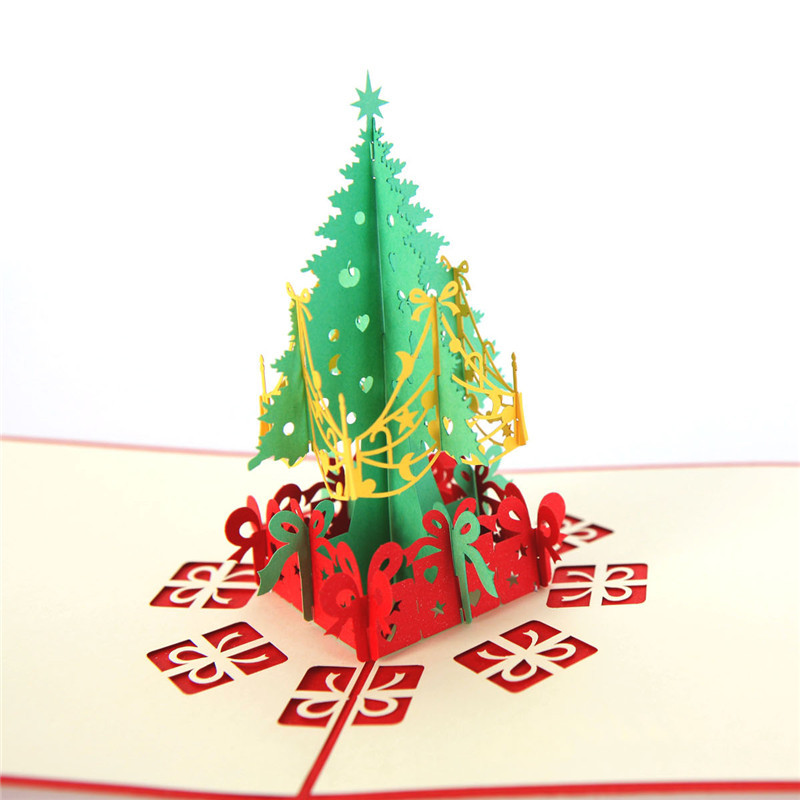 10 pcs Joliny 3D Hollow out Christmas tree Popup Christmas ...