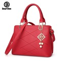 SmartNee brand women bag hollow out ombre handbag floral print shoulder bags ladies pu leather tote bag red/gray/blue