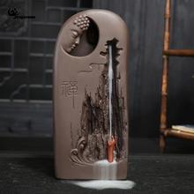 Фарфоровая Будда обратного благовония горелки ладан конусные палочки держатель аромат+ 10 шт. конус украшения дома
