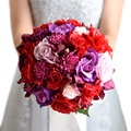 Букет Де Mariage Красный Искусственный Пляж Свадебный Букет, Свадебные Букеты Для Невесты Невесты Цветок Брошь Букет 2016