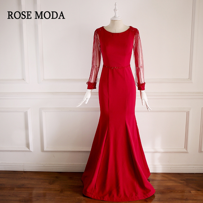 Rose Moda Red Long Sleeves   Prom     Dresses   with Crystals Reflective   Dresses   2019