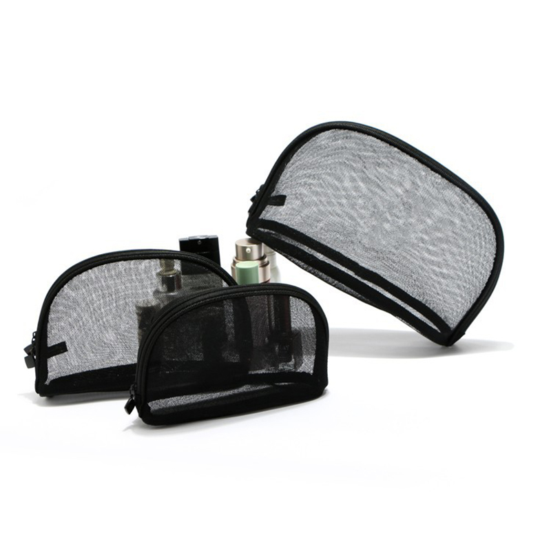 3Pcs Fashion Cosmetic Bag Mesh Black Makeup Pouch Girl Handbag Zipper Travel Cos