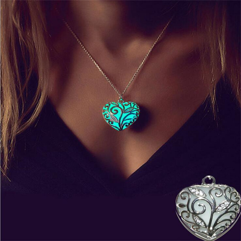 Fancy&Fantasy Glowing Necklace Heart Pendant Necklace Luminous glow locket hollow out necklace light up jewelry  locket