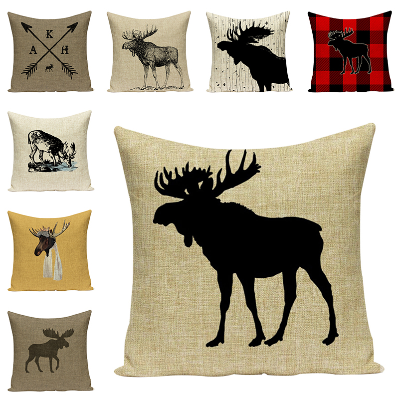 Cartoon Elk Animal Linen Pillow Cover Deer Cushion Cover Creative Home Decorative Cotton Linen Pillow Case