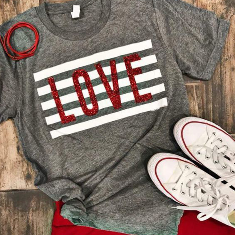 2019 love print t shirt women valentine 39 s day shirts lover tops streetwear tee womens top tees girl plus size in T Shirts from Women 39 s Clothing