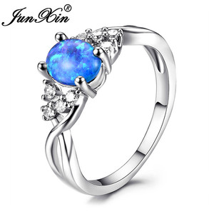 JUNXIN Blue/Purple/White Fire Opal Rings For Women Silver Color Oval Stone Birthstone Wedding Ring Luxury Female Jewelry(China)