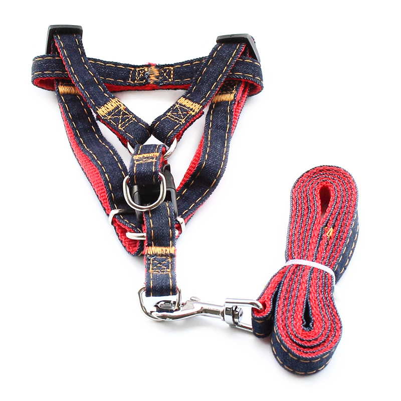 Siop armi Denim Nylon Deunydd Harnais Harnais Leash Dogs Harnesses 6044016 Pet Leisure Supplies