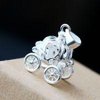 925 Sterling Silver Pendant Fairy Princess pumpkin car Silver Pendant