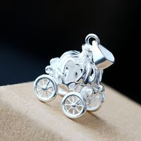 925 Sterling Silver Pendant Fairy Princess pumpkin car Silver Pendant